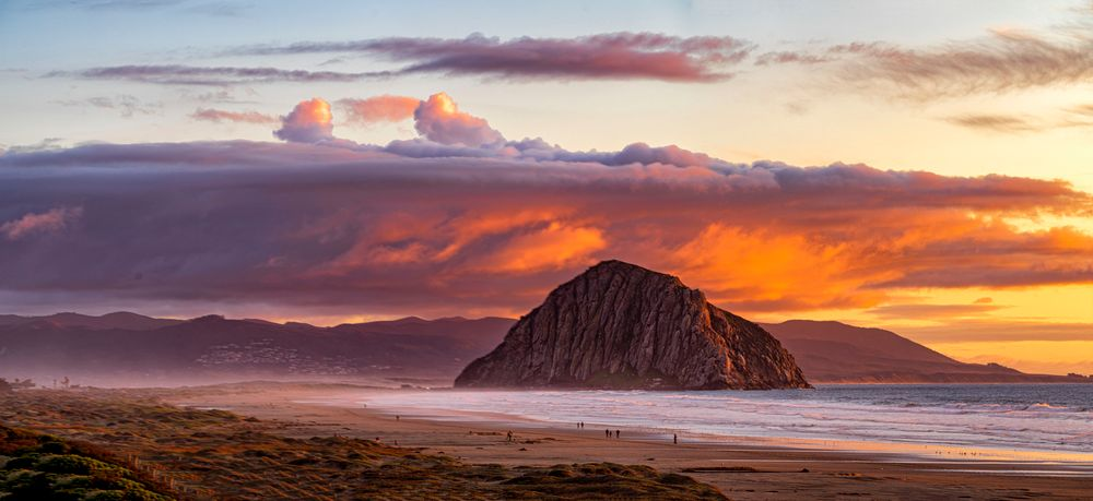 Photo in Sea and Sand #morro rock #pacific ocean #beach sand #dramatic sky #sunset #california