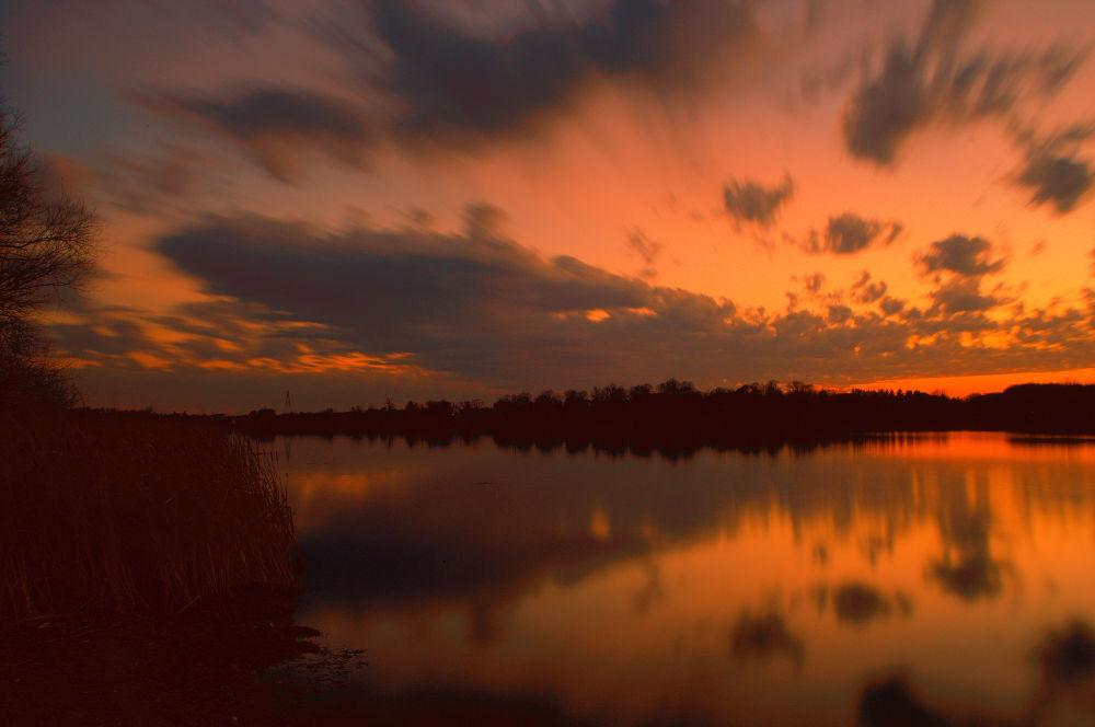 Photo in Landscape #clouds #lake #sunset #long exposure #minnesota #haaland #waconia #reflecton