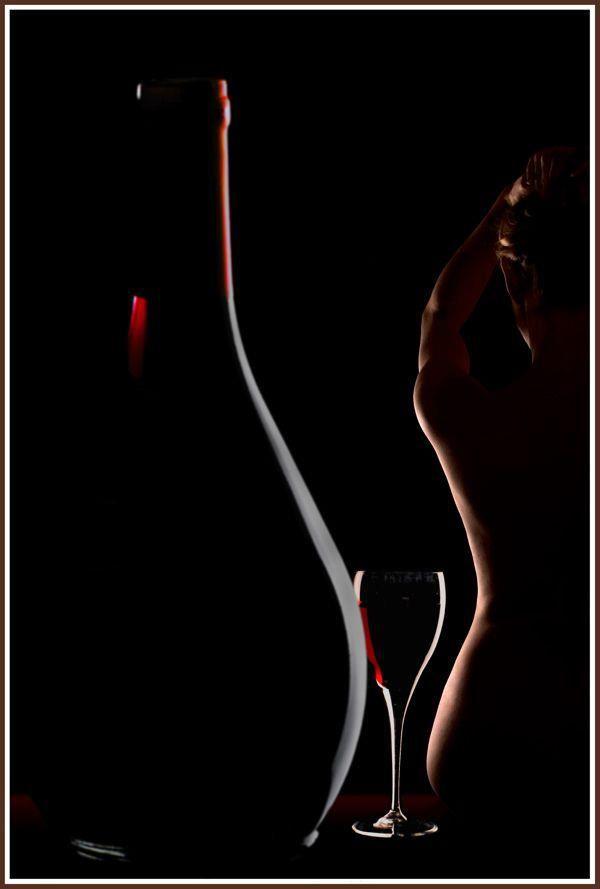 Photo in Nude #rim light #wine glass #wine