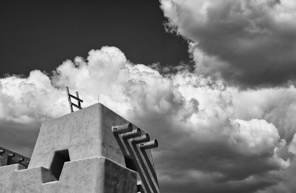 Photo in Architecture #pueblo #new mexico #clouds #sky #weather #native american #architecture #black and white #desert #southwest #santa fe