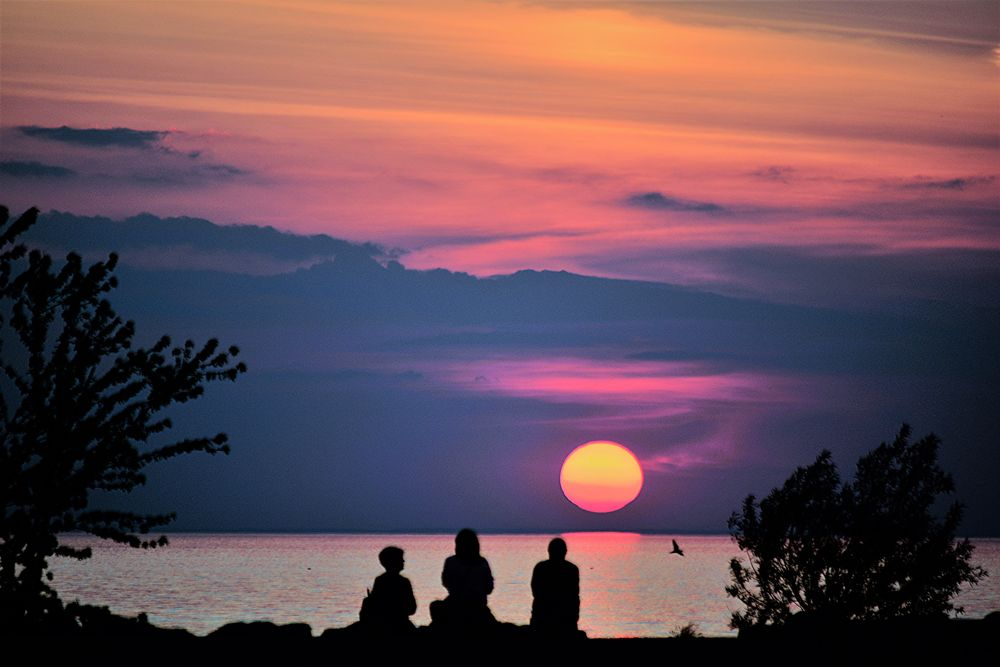 Photo in Random #sunset #silhouettes #denyspeel #trending #outdoor #colours #people #clouds #redskies