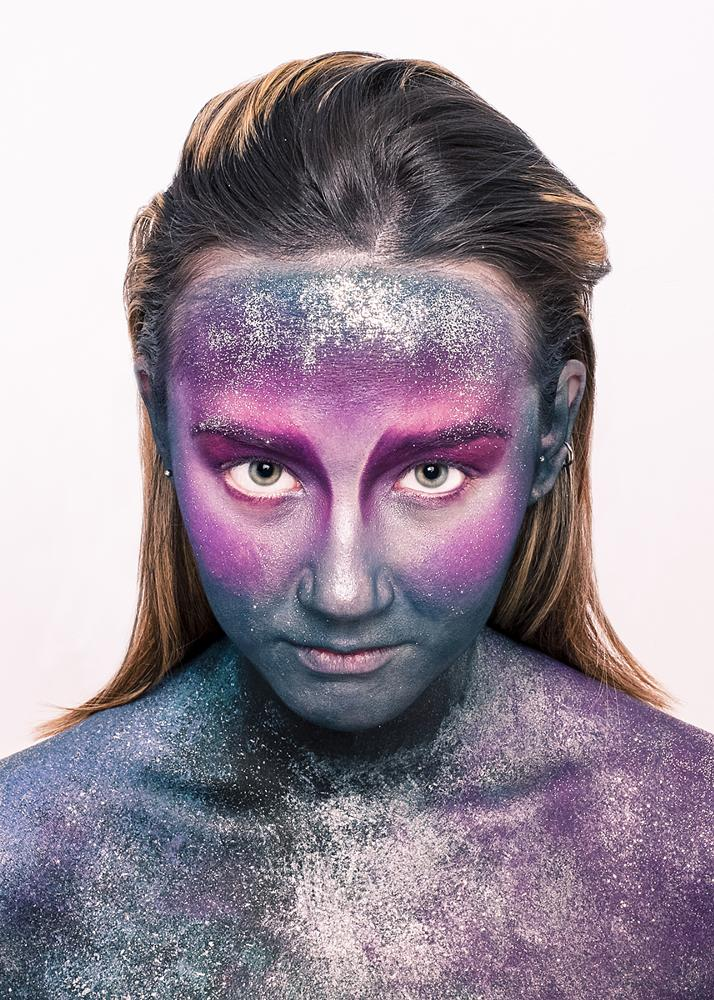 Photo in People #galaxy #body painting #make up #girl #portrait #color #colour #glitter