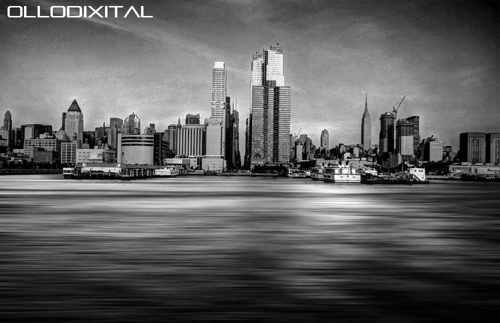 Photo in Random #city #sea #usa #b&w #skyline #new york #ny #manhattan #mar
