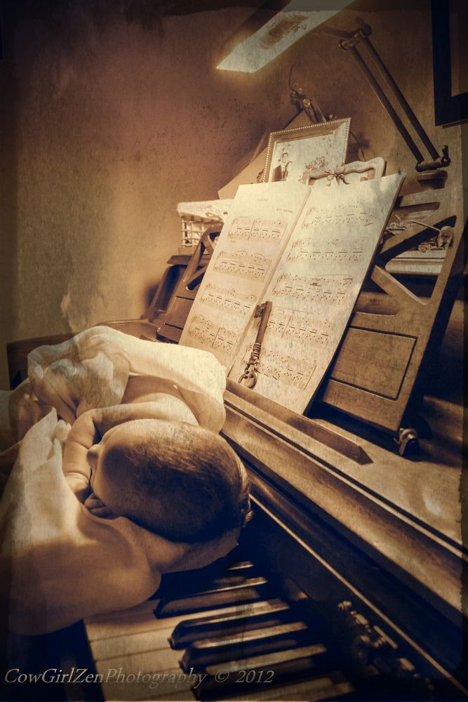 Photo in Vintage #piano #music #family #baby #child #vintage #united states #sepia #lullaby #cowgirlzenphotography #infant #cowgirlzen photography