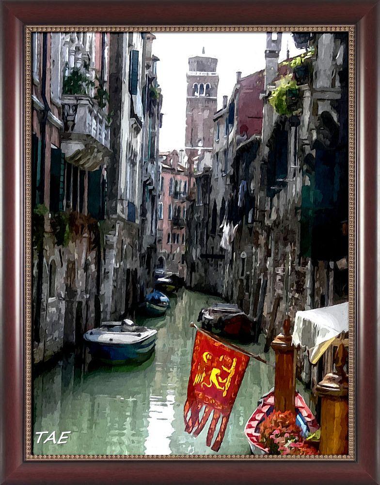 Photo in Random #art #oil #painting #canal #venice #italy #church #flag #fine #canvas
