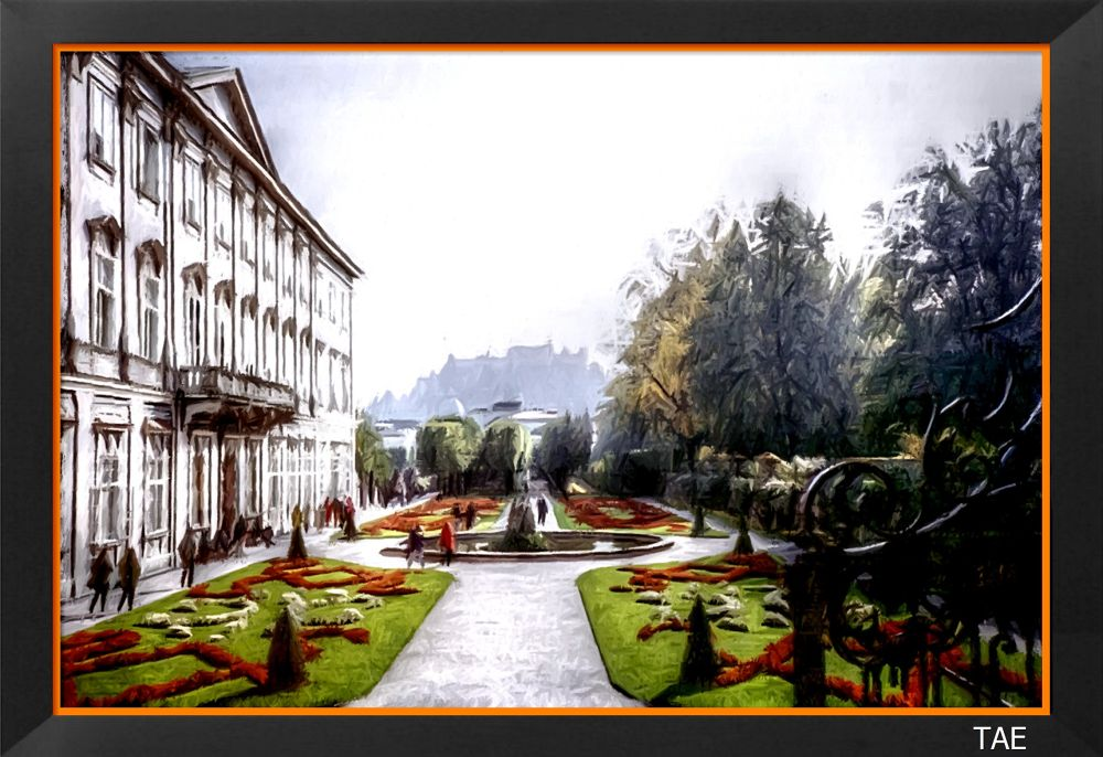 Photo in Random #art #oil #painting #view #castle #garden #austria #salzburg #fortress #fine #canvas #mirabell