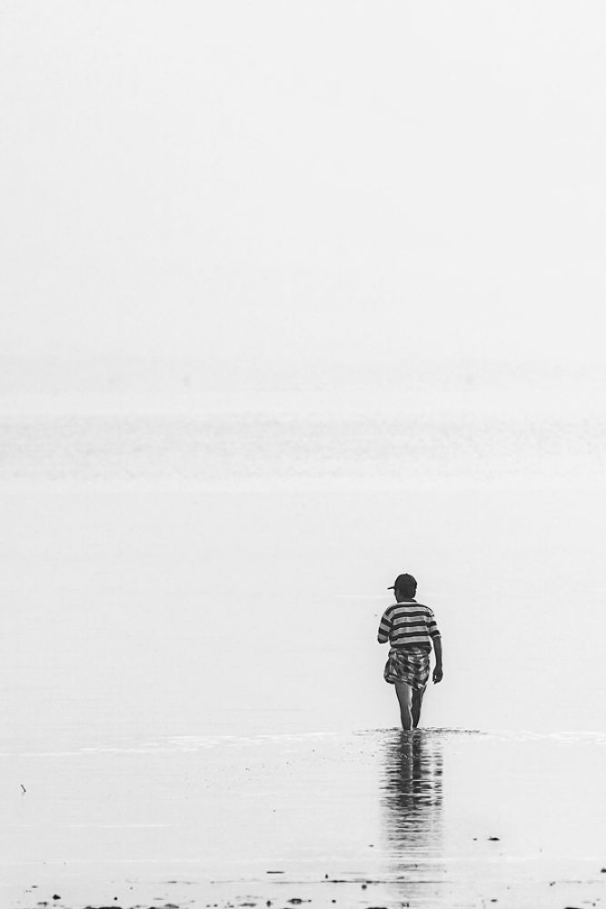 Photo in Black and White #beach #water #nature #landscape #people #morning #black and white