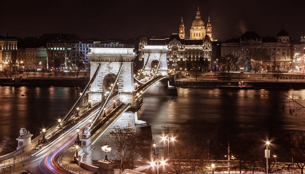 Photo in Random #budapest #bridge #night #trails #hungary