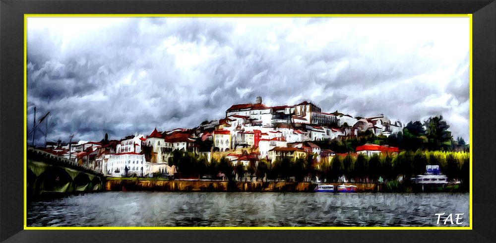 Photo in Random #art #oil #painting #view #city #river #bridge #portugal #fine #canvas #coimbra