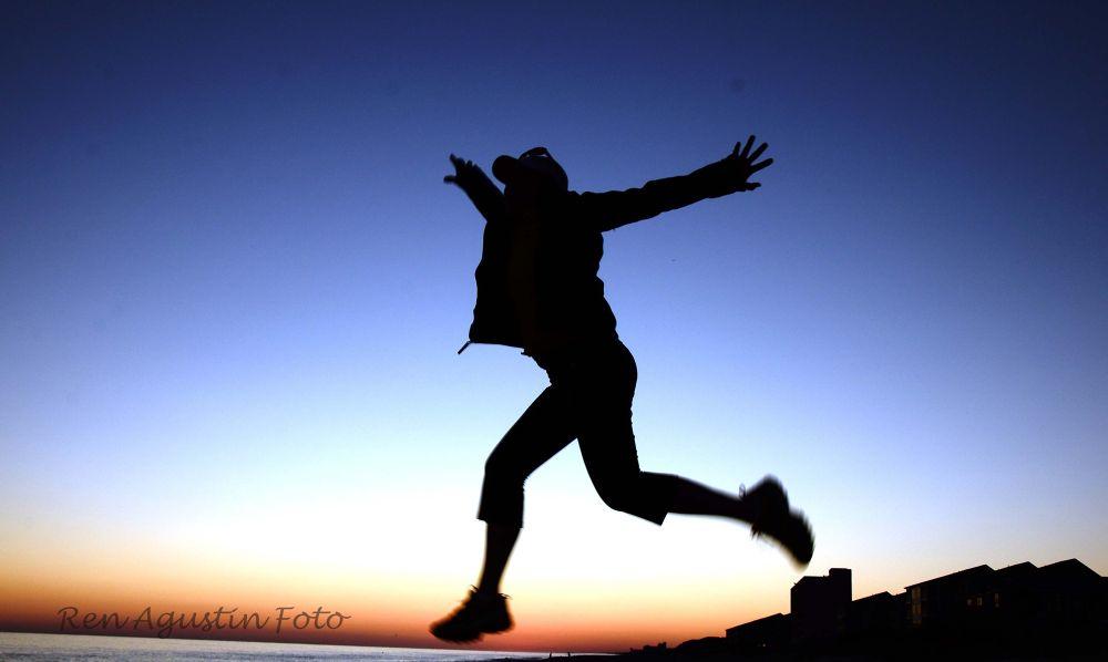 Photo in Random #beach #girl #sky #silhouette #jump