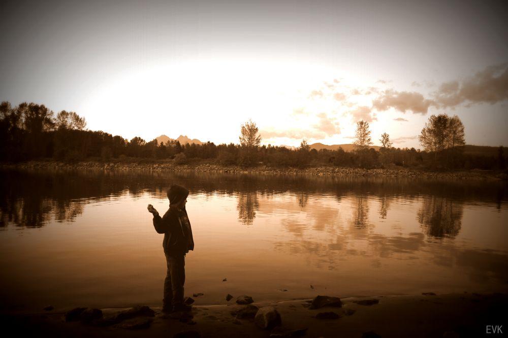 Photo in Random #playing #sunset #kid #stone #throwing #frasier river #frasier