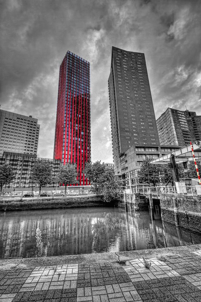Photo in Architecture #hdr #rotterdam #skyline #architecture #black & white #red apple #sky scraper