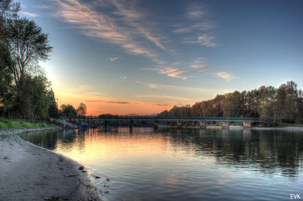 Photo in Random #river #water #bridge #sunset #fort langley