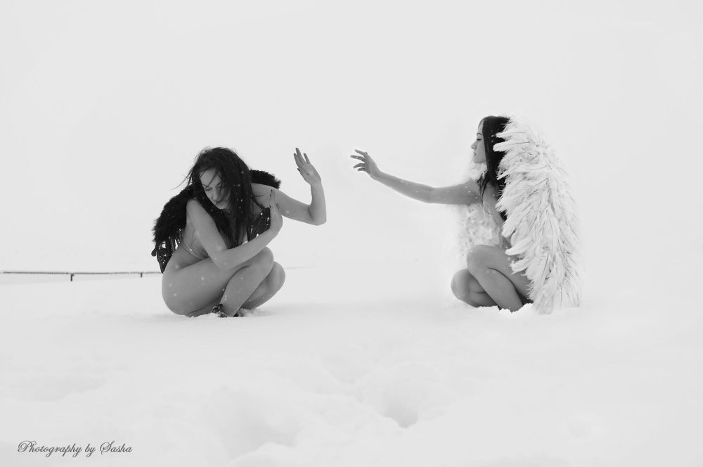 Photo in Random #angels #snow #double #black and white #touch #cold #wings
