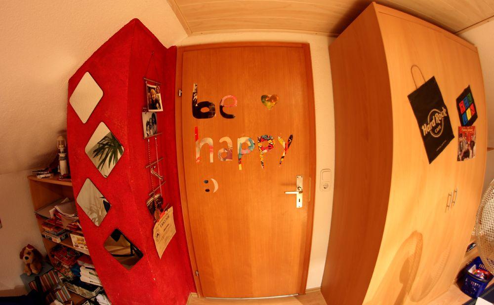Photo in Random #door #red #mirror #inside #be happy #quote