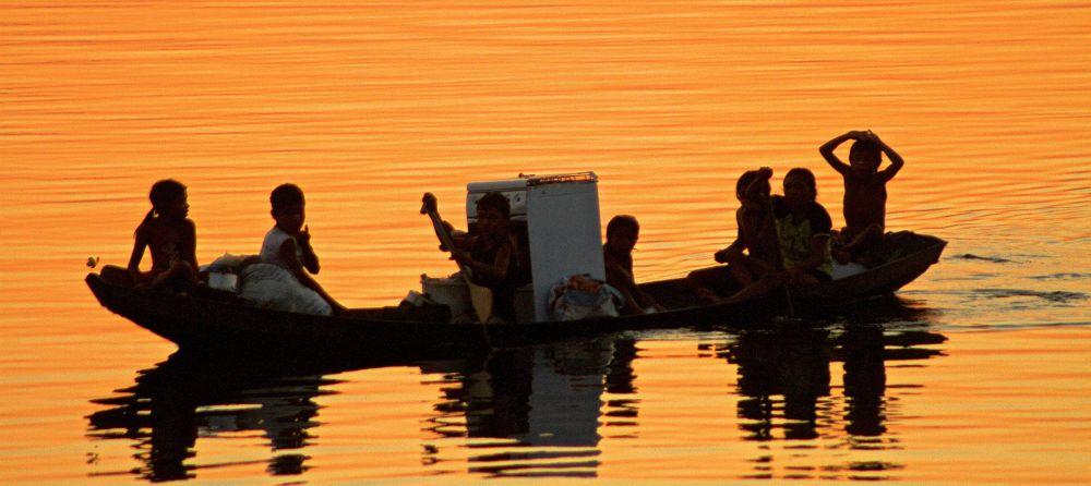 Photo in Family #family #river #sunset #amazon rainforest