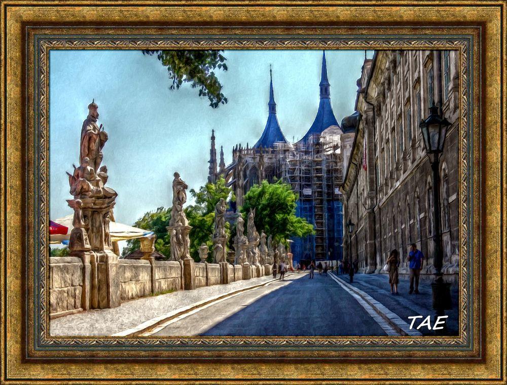 Photo in Random #art #oil #painting #view #church #cathedral #fine #terrace #czech #republik #kutna #hjora #barbara #paintingdigital