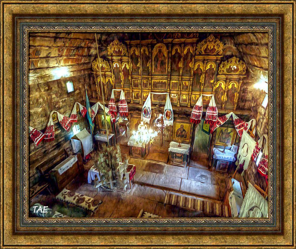 Photo in Interior #art #oil #painting #church #wooden #interior #fine #romania #canvas #sigitu #marmatei #maramures