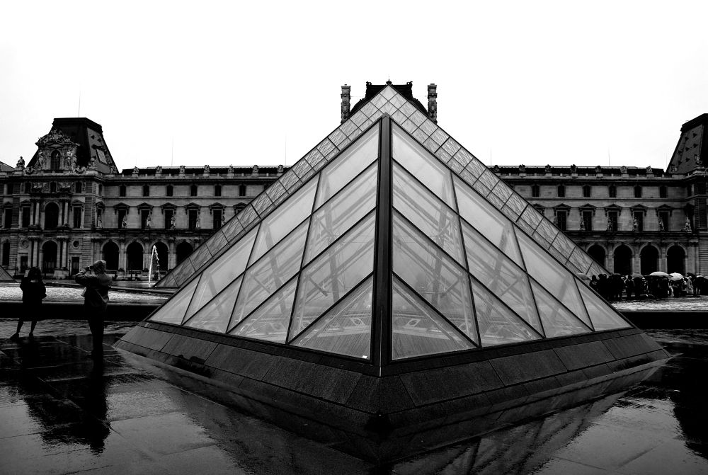 Photo in Black and White #paris #france #black and white #the louvre