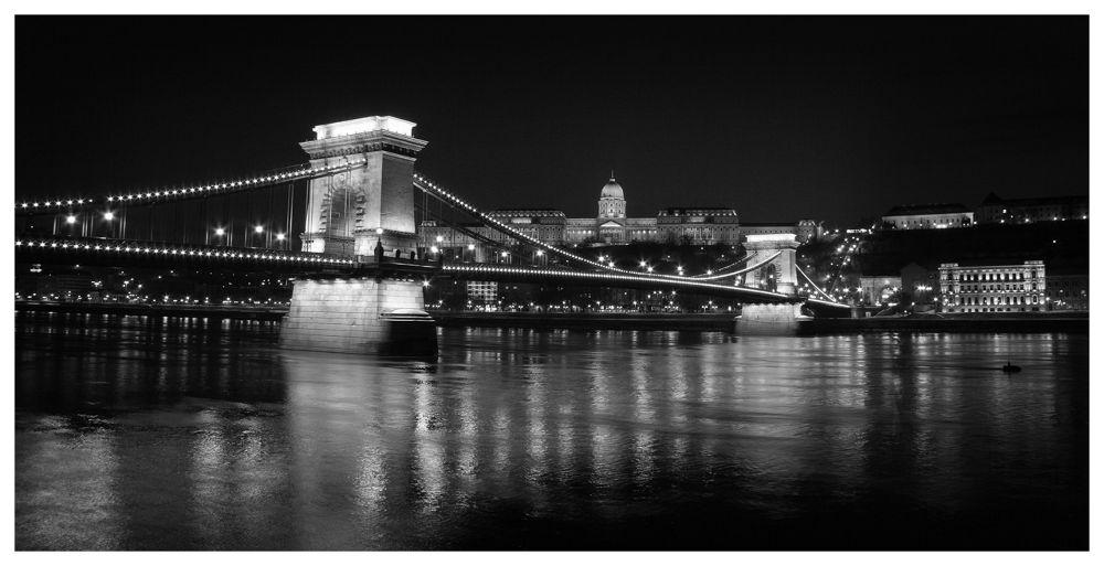 Photo in Random #lights #budapest #bridge #night #b&w #hungary #chain bridge