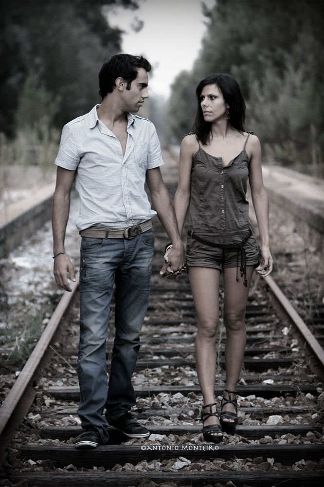 Photo in Random #train #couple #walk #line