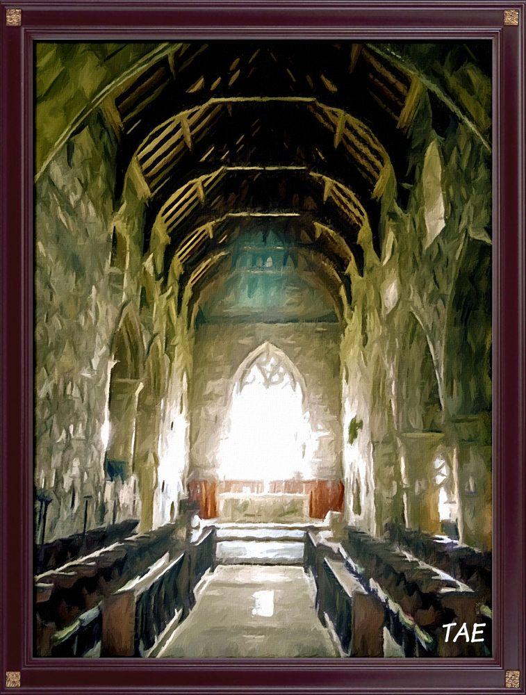 Photo in Interior #art #oil #painting #island #church #holy #digital #scotland #abbey #interior #fine #canvas #iona