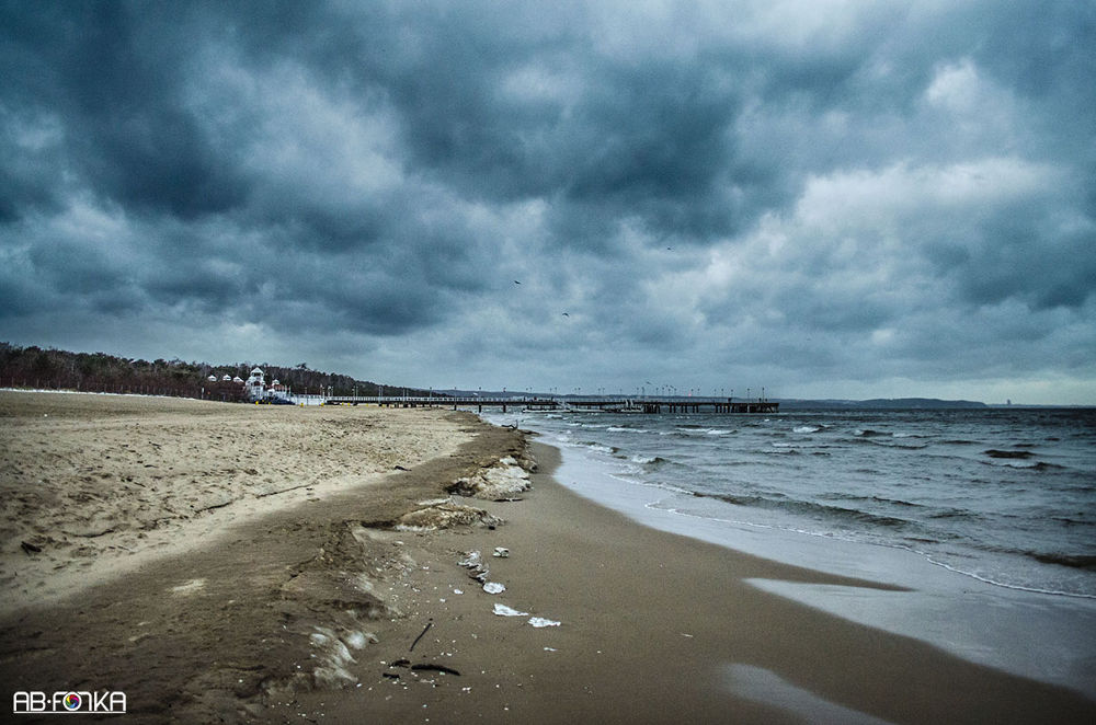 Photo in Landscape #beach #water #clouds #hdr #sea #landscape #storm #waves #sand #poland #gdańsk #baltic