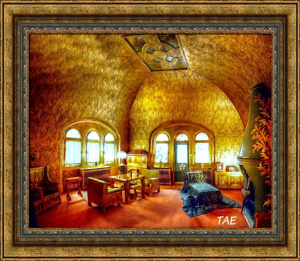 Photo in Random #art #oil #golden #painting #castle #room #palace #fine #romania #canvas #peles #brasov