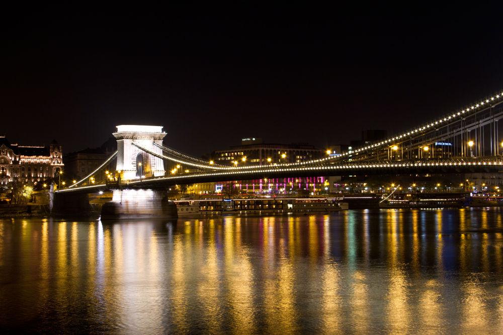 Photo in Cityscape #budapest #bridge #night #landscape #cityscape #waterscape #hungary #ourniti #damian michalowski