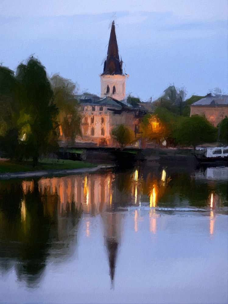 Photo in Random #art #oil #town #light #night #sweden #fine #canvas #karlstad #mpainting