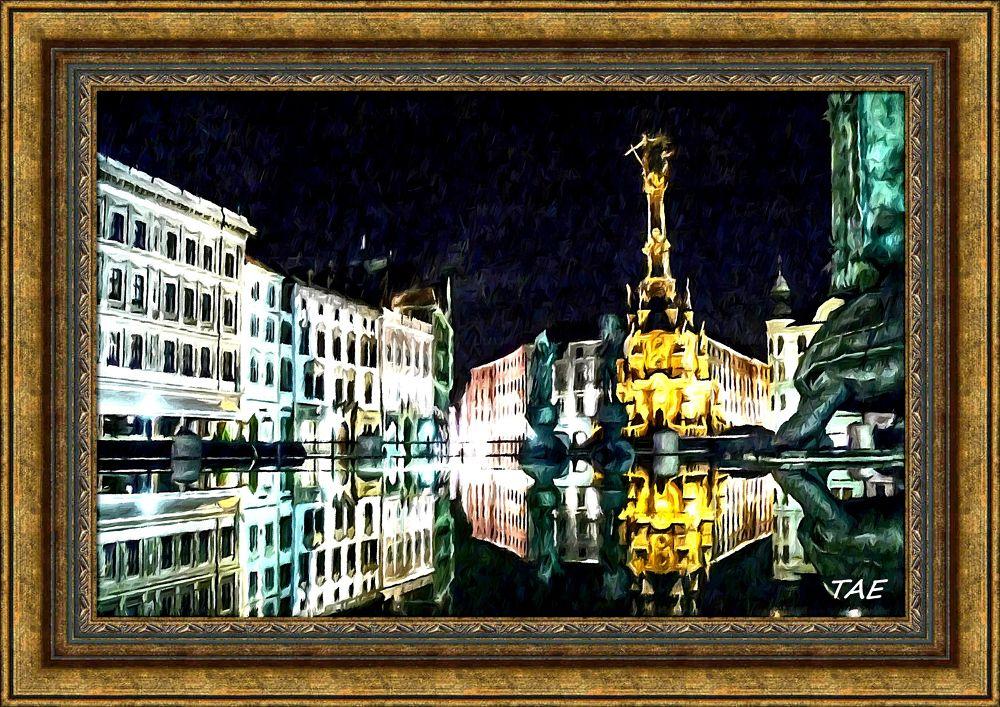Photo in Random #art #oil #painting #light #hdr #night #fountain #fine #canvas #czech #well #republik #moravia #olomouc