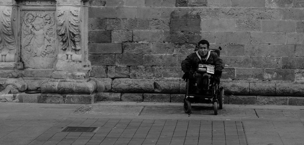 Photo in Black and White #street #wall #man #black and white