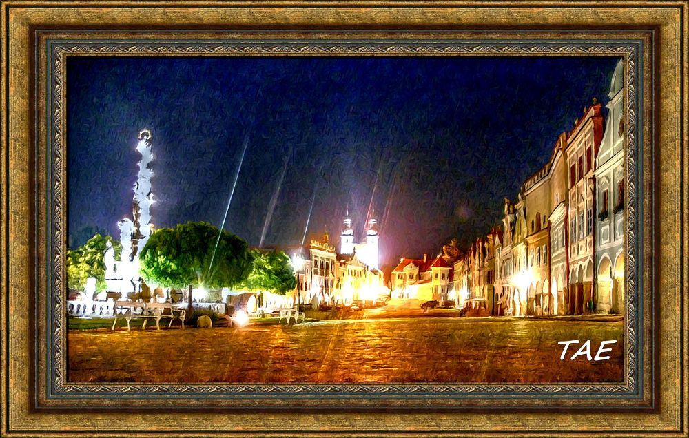 Photo in Random #art #oil #painting #market #town #church #light #place #night #digital #fine #canvas #czech #republik #telc
