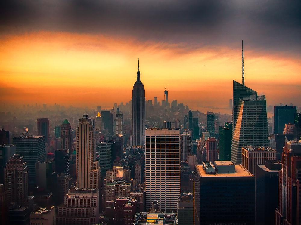 Photo in Random #sunrise #nyc #new york city #top of the rock #rockefeller center #gotham city #ypa2013