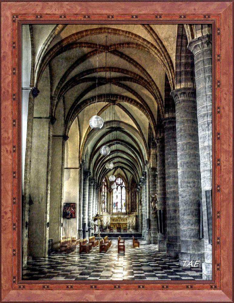 Photo in Interior #art #oil #painting #church #belgium #cathedral #interior #fine #canvas #kortrijk
